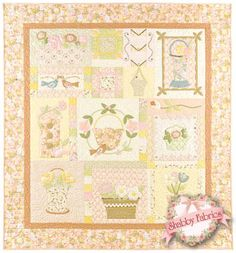 """Blossom Time: Blossom Time is a 58 x 63 Quilt by Anne Sutton of Bunny Hill designs. Here is what Anne says about her pattern, """"The garden is blooming with beautiful blossoms and the applique is easy. It just doesnt get any better! Blossom Time is a quilt you will love to stitch and it looks like a vintage treasure when finished! Color close-up photo of each block included inside pattern."""""""