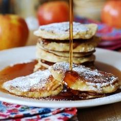 Apple cinnamon yogurt pancakes. Filled with shredded apples, spiced with cinnamon & vanilla, with a wonderfully sour taste from yogurt!