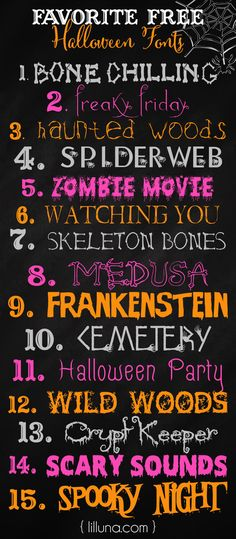FREE Halloween Fonts - so many great ones to use in your own creations!