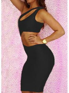 Sheath Black Backless One Shoulder Dress for Party