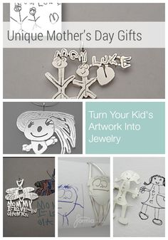 A truly unique Mother's Day gift idea - turn your kid's artwork into jewelry. A really special keepsake. Silver jewelry. Handmade and made in America.