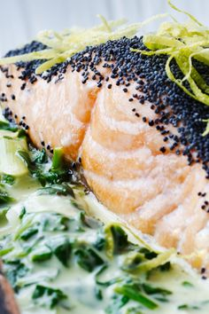 Salmon with spinach-lemon cream- Laks med spinat-citron-creme salmon -