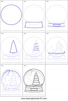 How to Draw Snowglobe with Christmas Tree step by step printable drawing sheet to print. Learn How to Draw Snowglobe with Christmas Tree Globe Drawing, Xmas Drawing, Drawing For Kids, Art For Kids, Easy Christmas Drawings, Christmas Doodles, Christmas Paintings, Christmas Tree Printable, Christmas Crafts For Kids
