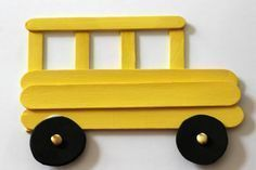 Kids crafts: school bus art craft preschool features sticks for within arts and crafts for kids to do at school Kids Crafts, Craft Projects For Kids, Crafts For Kids To Make, Toddler Crafts, Preschool Crafts, Art For Kids, Craft Ideas, Back To School Crafts For Kids, Kindergarten Crafts