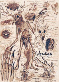 An illustration based on the legendary, cannibalistic creature, the Wendigo. Other Cryptid Anatomy Art: North Atlantic Mermaid: Wendigo Anatomy Study Mythical Creatures Art, Mythological Creatures, Magical Creatures, Arte Horror, Horror Art, Le Wendigo, Art Sketches, Art Drawings, Animal Drawings