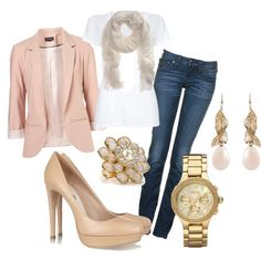 PINK OR PALE BLAZER, WHITE SHIRT (VERY SIMPLE), SKINNY JEANS, HIGH HEALS AND NEVER FORGET THE WATCH