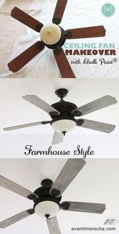 DIY Home Decor ❤️ DIY Ceiling Fan Makeover Farmhouse Style Outdoor landscape lighting With a team of Annie Sloan, Vintage Buffet, Painting Ceiling Fans, Paint Ceiling, Bedroom Ceiling, Ceiling Design, House Painting, Espace Design, Ceiling Fan Makeover