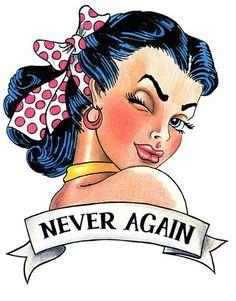 Sailor Jerry Pin Up Girl Tattoo Design - Never Again Tattoo Girls, Pin Up Girl Tattoo, Pin Up Tattoos, Tattoo Designs For Girls, Girl Tattoos, Tatoos, Pin Up Girls, Badass Girl, Tatuagem Pin Up