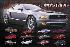 EVOLUTION-OF-THE-FORD-MUSTANG-SPORTS-CAR-POSTER-LARGE-24-x36-NEW