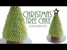 Easy Christmas Tree Cake- Tutorial Rosie's Dessert Spot - YouTube