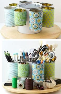 Tin cans for organizing craft supplies. NO TUTORIAL, ...AN IDEA....LARGE PAINT CAN IN CENTER WITH THE VARIOUS SIZED TIN CANS ATTACHED TO IT. I WOULD WEIGHT THE BOTTOM OF CENTER CAN TO ASSURE STABILITY....= NO WORRIES, ORGANIZE FOR YOUR SELF
