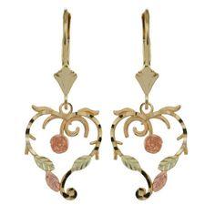 Black Hills Gold Jewelry | 10K BLACK HILLS GOLD HEART ROSE EARRINGS