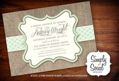 Rustic Chic Mint and Creme Burlap Baby Shower Bridal Shower Invitation