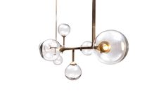 Helix Horizontal Pendant by Lumifer Light. Handcrafted in brass, handblown glass & LED designed by Javier Robles.
