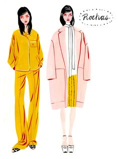 fashion illustration, i like the color combination mustard & light pink