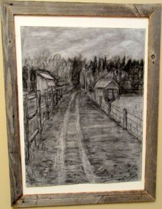 """Pasture Trail"" Original Charcoal Drawing on by ""Orange Flower"" Original Textured Acrylic Painting by Michelle Durell / Durell Studio"