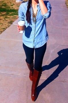 Denim shirt, black leggings, brown boots