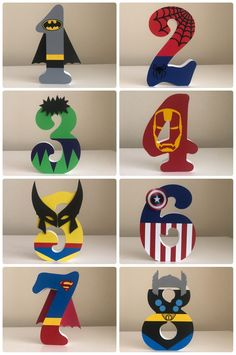 Superhero/Marvel Personalised Freestanding MDF Wooden Numbers in 2020 Avenger Party, Hulk Birthday, Avengers Birthday, Disney Cars Birthday, Superhero Theme Party, Batman Party, Birthday Party Decorations, Party Themes, Boy Birthday Parties