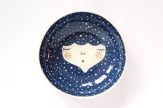 Blue ceramic serving bowl - blue ceramic bowl - Snow queen - Baby shower gift - face plate - wall plate - wall decor - MADE TO ORDER