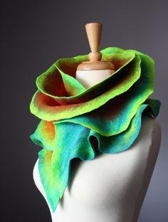 Felted wool scarf Orange Turquoise by VitalTemptation , Etsy, via Flickr