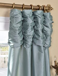 Robins Egg Ruched Faux Solid Taffeta Curtain #windowtreatments #curtains