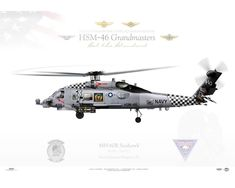 Aircraft profile print of MH-60R Seahawk HSM-46 Grandmasters, HQ470 / 167027 - Profile Print in various sizes