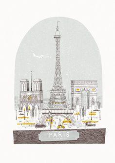 Beautiful illustration makes me wish I was in Paris now. Petit Belle by Johnny Kotze, via Behance Tour Eiffel, Torre Eiffel Paris, Illustration Parisienne, City Illustration, Deco France, Paris France, Springtime In Paris, My Little Paris, You Draw