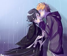Rukia and ichigo kiss in rain