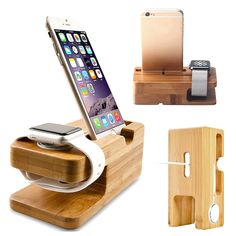 Charging Dock Stand Station Charger Holder For Apple Watch iWatch iPhone Bamboo Wooden Charging Station, Docking Station, Charging Stations, Apple Watch Iphone, Charger Holder, Phone Holder, Smartwatch, Wood Chargers, Apple Fitness