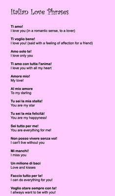 italian love phrases love phrases - I love you Brian! Italian Love Phrases, Italian Love Quotes, Italian Sayings, Words In Italian, Beautiful Italian Words, Italian Grammar, Italian Vocabulary, Expression Populaire, Learn To Speak Italian