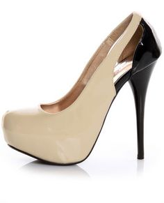 I need these is a 10!!!!!!!!!!!!!!!!!!!!!!!!!NOW PLEASE Qupid Neutral 122 Beige Patent Two-Tone Cutout Pumps