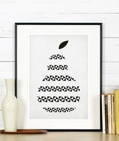 Fruit retro poster, kitchen art, pear, minimalist design, kitchen picture, art print, vintage poster, wall hanging, Scandinavian poster A3