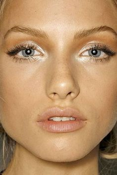 Dewy bright makeup! Try RMS Living Luminizer and a lip gloss in Nude Rose from W3LL People!