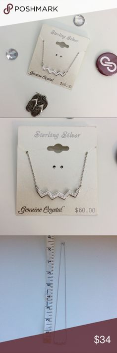 💎New Item💎 Sterling Silver & Crystal Necklace Beautiful sterling silver and crystal necklace. Simple and elegant zigzag design and perfect size make this a staple for any wardrobe. Jewelry Necklaces