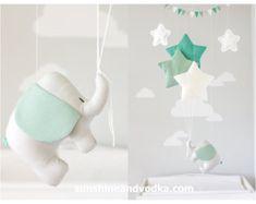 Elephant and Stars Baby Mobile, Travel Theme, Nursery Decor, Teal and Gray, Elephant Mobile, i186