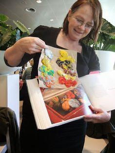 Loret Karman with the book about Van Gogh's Yarn Box | Slip, Knit, Meditate blog