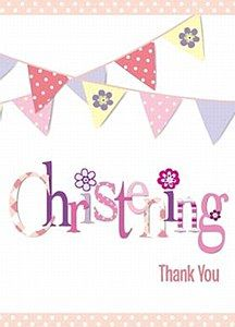 Pink Bunting Thank You Cards  These Pink Bunting Thank You Cards with their wonderful design, make for a beautiful thank you for any Christening or Baptism for a little girl.