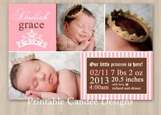 Princess Baby Birth Announcement Photo Card - DIY Custom Printable. , via Etsy.