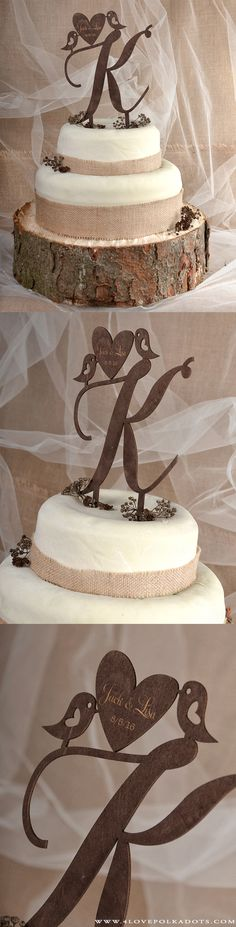 Wooden Wedding Cake Topper #countrywedding #rustic #wood