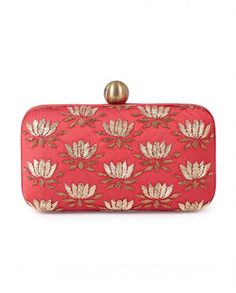 Red lotus box clutch with dabka embroidery on dupion. The purse has a top metal closure. Material Dupion Lining Satin Color Red Type of Work Dabka Embroidery