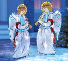 Outdoor Lighted Christmas Angels Garden Stakes- Pair of 2