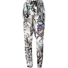 Just Cavalli Coral Print Casual Trousers (1110 QAR) ❤ liked on Polyvore featuring pants, multicolour, multi color pants, just cavalli, multi colored pants, white pants and print pants