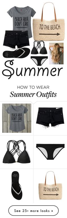"""Beach Outfit"" by destanee-722 on Polyvore featuring Style & Co., rag & bone/JEAN, Reef, Victoria's Secret, Abercrombie & Fitch and strawbags"