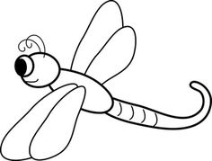 Dragonfly Clipart Image: Black and White Cartoon Dragonfly Coloring Page