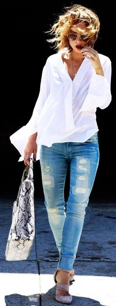 Street style | Casual white shirt, denim