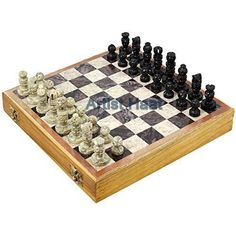 Thanksgiving Gift Artist Haat Handmade Stone Chess Pieces with Wooden Chess Box #ArtistHaat