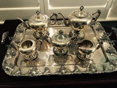 Silver-Tea-Service-with-Tray-Ornate-Heavy-Lovely-Set