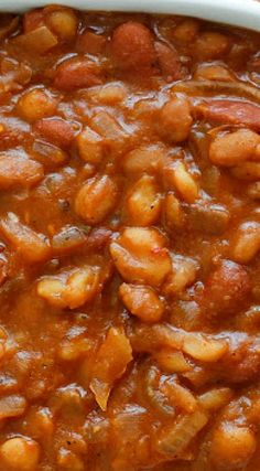 Baked Beans Crock Pot, Slow Cooker Baked Beans, Beans In Crockpot, Crock Pot Slow Cooker, Slow Cooker Recipes, Crockpot Recipes, World Recipes, Mexican Food Recipes, Side Dish Recipes