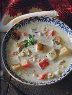 Dive into a bowl of Ukrainian soup with this Sour Cream-Barley recipe.: Kramarczuk's Sour Cream and Barley Soup
