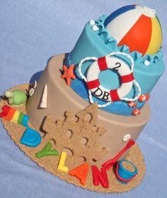 Beach bucket and ball cake